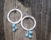 Skye Collection - Sterling Silver hammered circle earrings with Turquoise.
