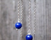 Delicate  threaders - Sterling silver and Lapis chain earrings