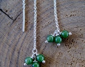 Delicate Threaders - Sterling Silver and Jade Chain Earrings