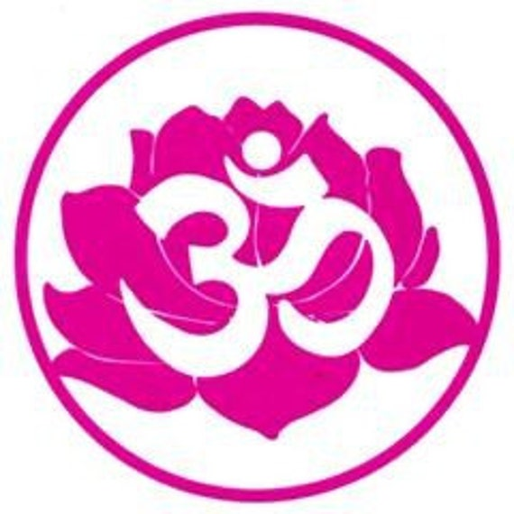 Yoga Lotus Symbol Om Aum Lotus Flower Yoga Vinyl Decal - Sticker (4 inches by 4 inches)