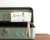 FREE SHIPPING - Vintage rustic mint green tool box
