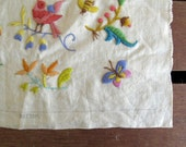 LAST CHANCE - closing shop. vintage embroidered tapestry wall art with birds and dragonflies