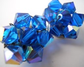 Faceted Blue Beads- Clip on earrings