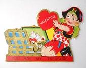 "1930s Valentine Card- Female Pirate, ""You are my treasure"""