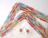 Crocheted Lace- Rainbow edges, floral detail, hankie