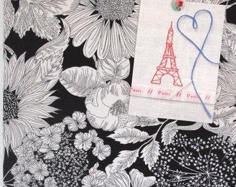 Liberty of London- Mini Corkboard, Black and White Flowers