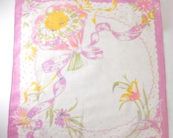 Spring Bride Hankie- Bridal Handkerchief, pink floral bouquet