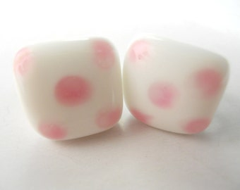 PORCELAIN PINK DICE squares- Kitschy mid-century, screw-back earrings