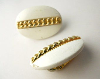 TRIFARI 1955 CLIP-ON White Enamel and Braided Gold-Tone earrings