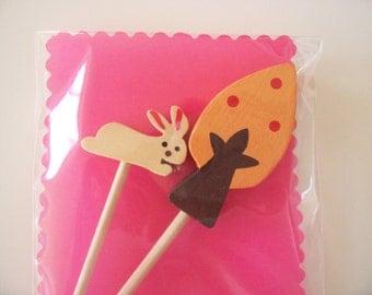 Cupcake Topper- Orange Tree and Bunny