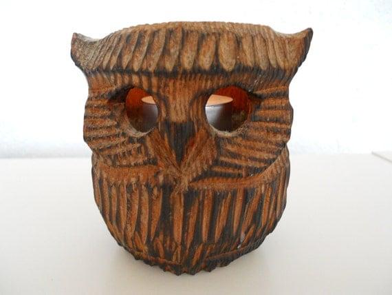 Owl Candleholder- vintage, hand carved wood
