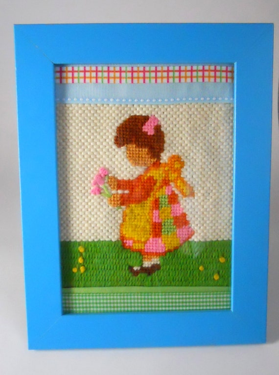 Vintage 1970s cross-stitch decor- Girl with flowers