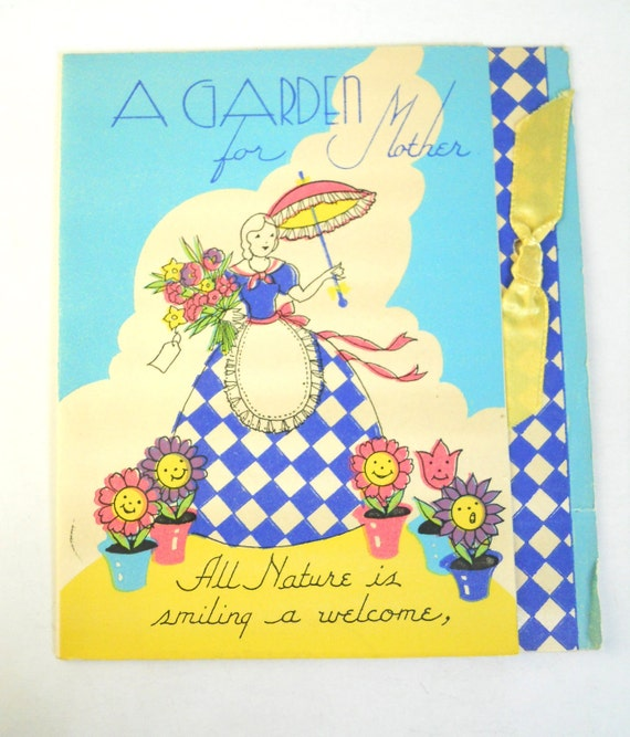 1940s MOTHERS Day, VINTAGE Card, GARDEN, ribbon and blue gingham