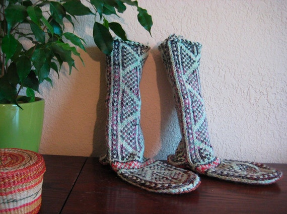 Knitting Patterns For Slippers With Leather Soles : Knitted Slipper Socks With Leather Sole
