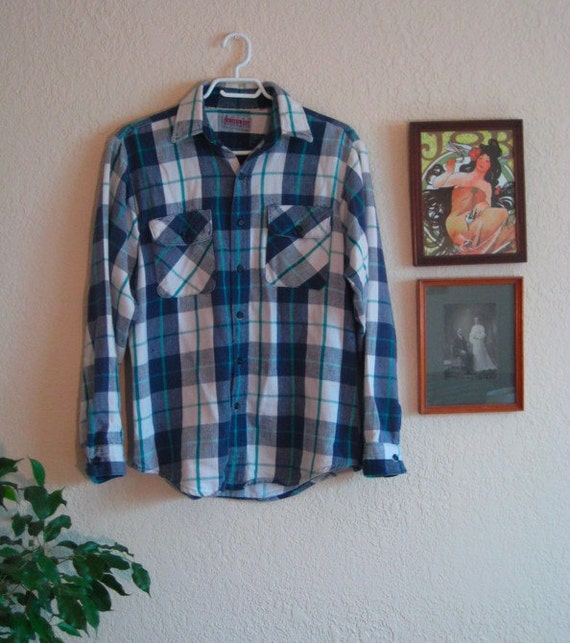 SALE - Flannel Plaid Boyfriend Shirt L-XL