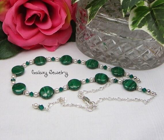 Malachite / Swarovski Crystals and Pearl Bali Sterling Silver Necklace