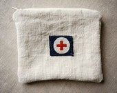 zipper pouch made from vintage linen grain sacks with vintage Red Cross patch from Europe (no.2)