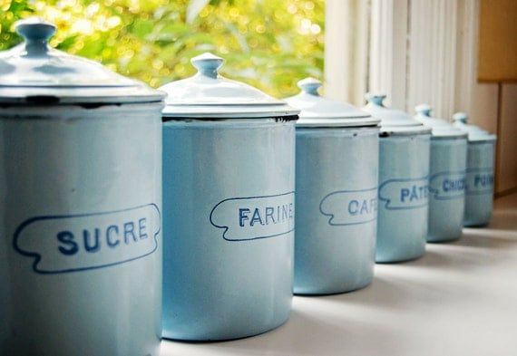 Vintage French Enamelware Set Of 6 Light Blue Canisters
