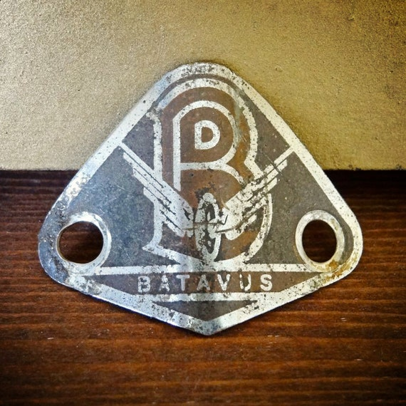 vintage bike plaque for head tube, advertising for Batavus brand of bicycle (Dutch)
