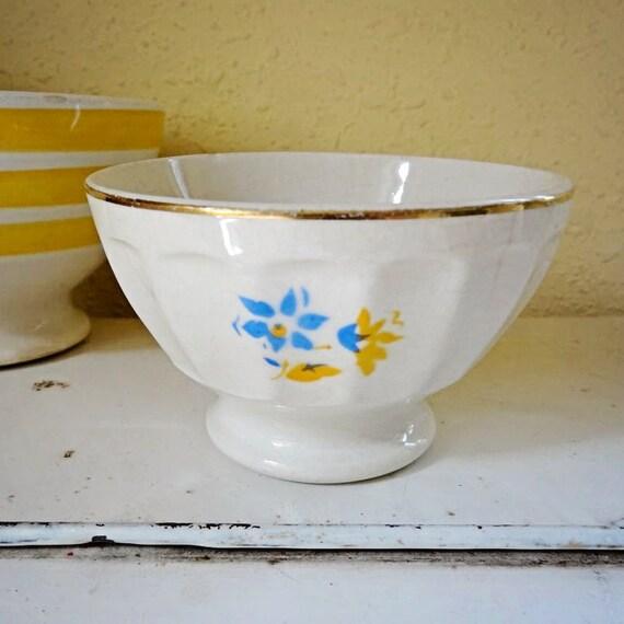 vintage café au lait bowl, mini size with flowers, from Belgium