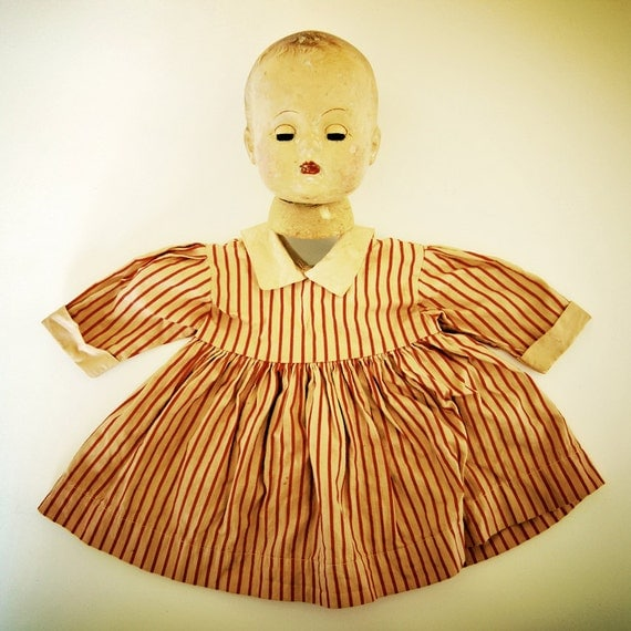 vintage doll dress, red stripes in tea stained cotton