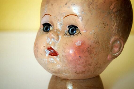 vintage doll head with sleepy eyes, wonderful aged patina