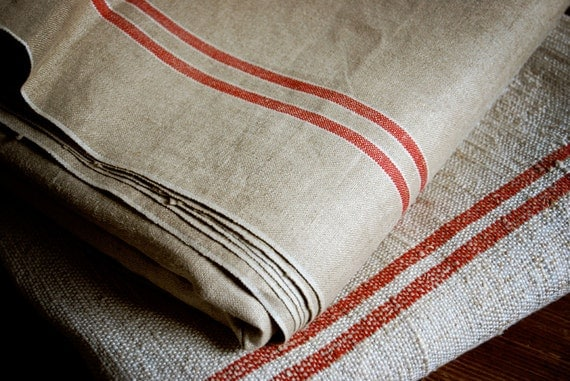 vintage linen with red stripes, old Dutch wringer or mangle cloth, perfect as table cloth