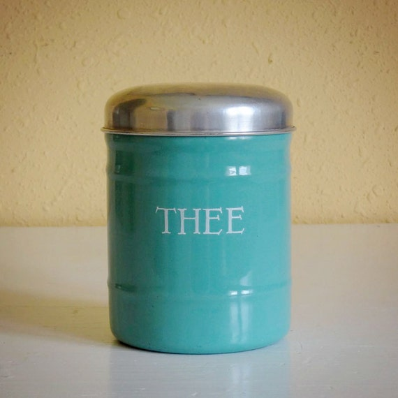 vintage enamelware canister, Dutch tea (thee) container, gorgeous turquoise color