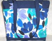 Large Handbag/Purse, Blue, Zipper, Shoulder Straps, Pockets