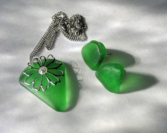 Green Sea Glass Pendant and Earring Set