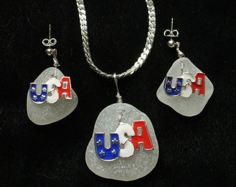Patriotic Sea Glass and USA charm Pendant and Earring Set--USA