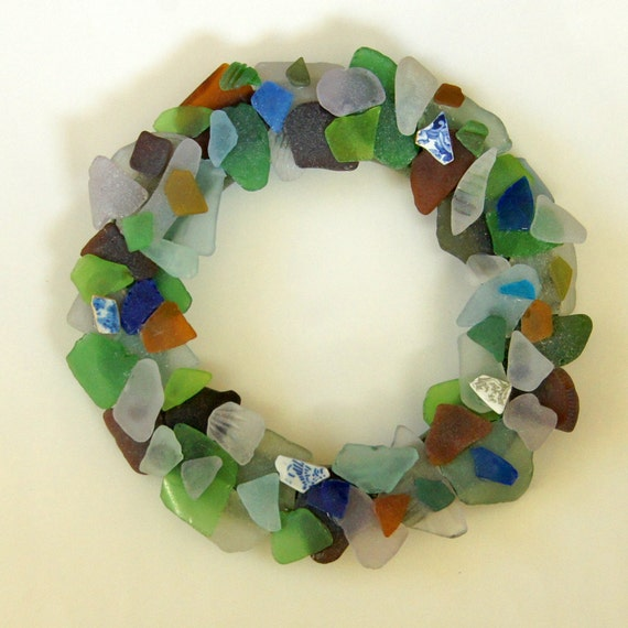 Beach Decor Wreath with Authentic Sea Glass