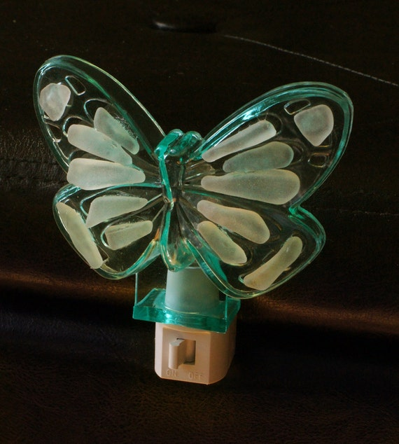 Sea Glass Night Light in a Green Butterfly Design