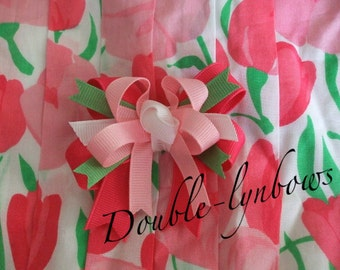 Toddler bow made to match Janie and Jack Happy in Madras M2MJ from Double-lynbows