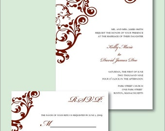 Custom Flourish DIY Wedding Invitation Suite - Printable PDF