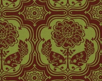 1/2 yd. hot blossoms mosaic, green and brown