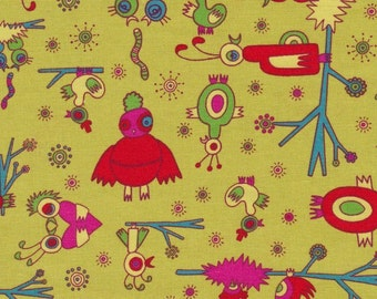 1/2 yd. garden friends - love birds, green (jay mccaroll)