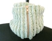 Sale - Mint Green Cabled Double Cowl
