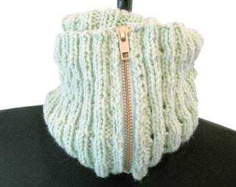 Mint Green Cabled Double Cowl