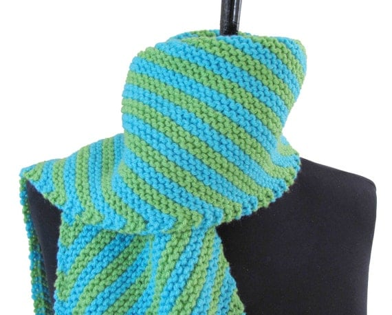 Neon Blue & Green Striped Scarf