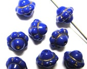 Cobalt Blue Glass Beads with Gold High Lights  x 12
