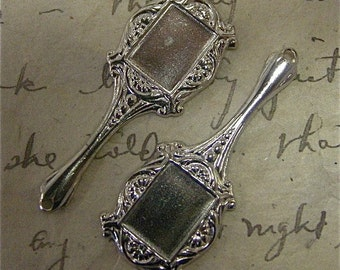 Silver Charm Finding, Silver Hand Mirror Findings, 2 pieces