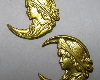 Brass Stampings of a Victorian Child in Hat (2)