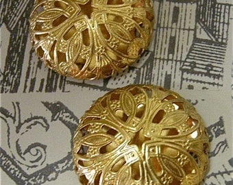 Brass Filigree 26mm Cabochons with Flat Backs (2)