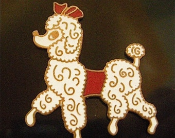 Cloisonne 1950s Poodle White and Red (1)