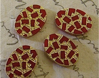 Vintage Red and Gold Glass Cabochons (6)