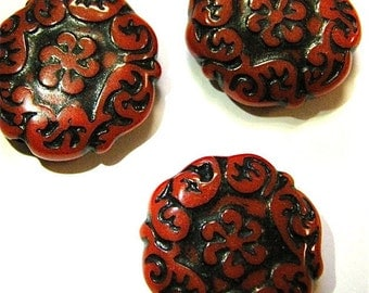 Red Plastic Disc Shaped Beads x 4