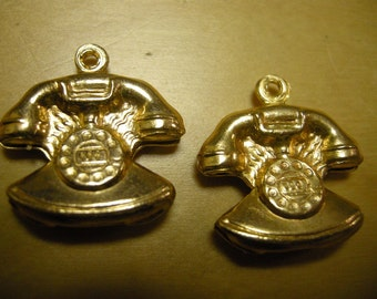 Brass Telephone Charms(2)