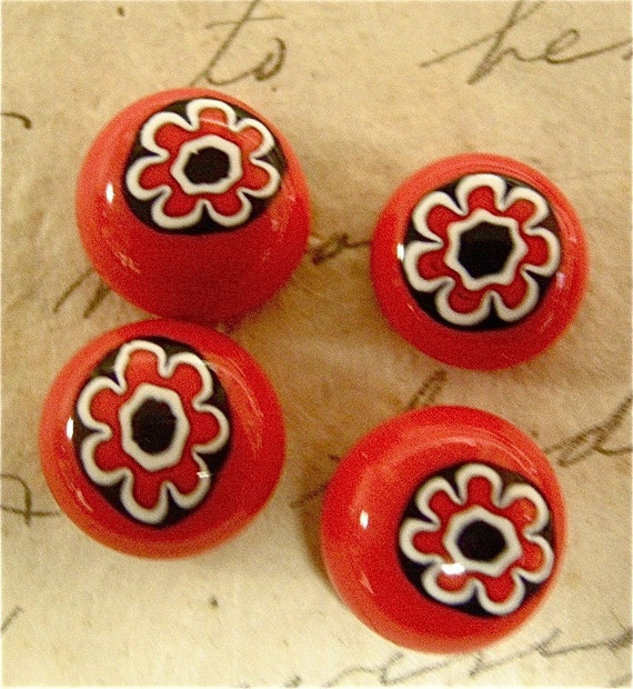 Vintage Millefiori Glass Cabochons 14 mm 2 Pieces