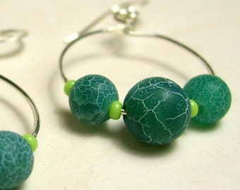 Turquoise and Lime Circle Earrings